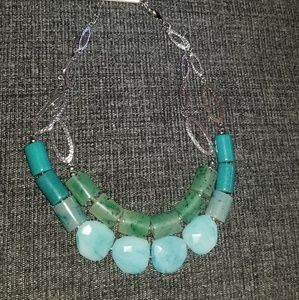 Chico's necklace aqua stones & silver